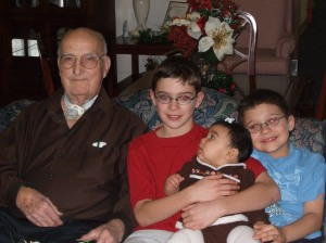 Pa-Paw with his great-grandchildren at Christmas